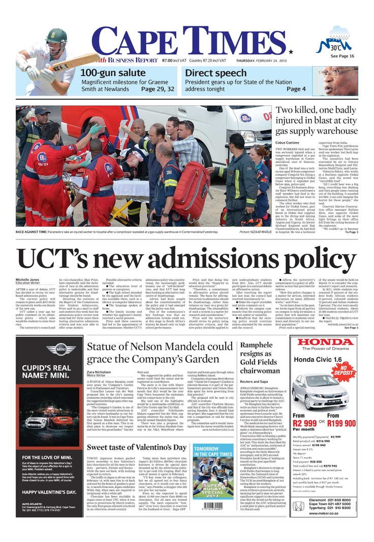 News making headlines: UCT's new admissions policy
