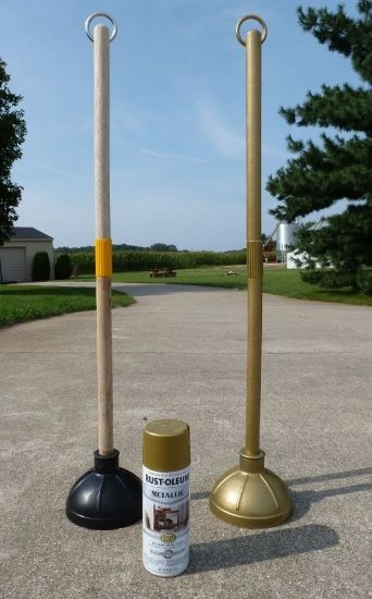 Rock, pop or movie star Birthday Party: DIY Red rope stanchions props.....use toilet plungers, attach longer (mop or broom) poles and spray all silver