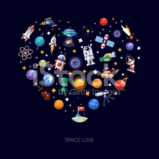 Heart flat design composition of space icons and infographics elements royalty-free stock vector art