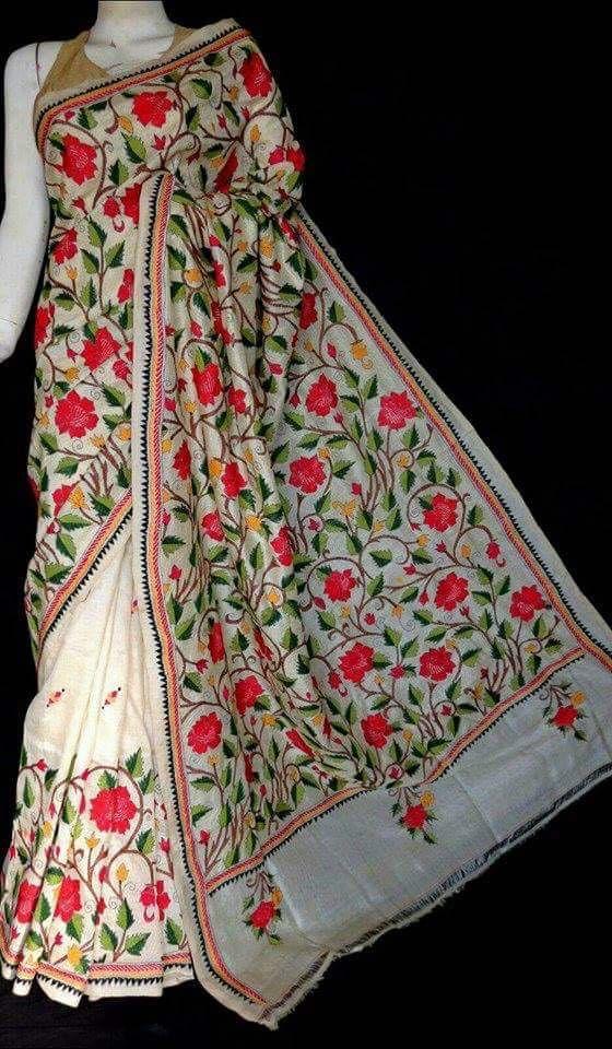#kantha #stitch #silk #saree For Order https://www.facebook.com/BidyutFashionHouse/posts/1311419425551421