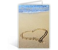 Uitnodiging voor huwelijksfeest met strandfoto / wedding invitation with picture