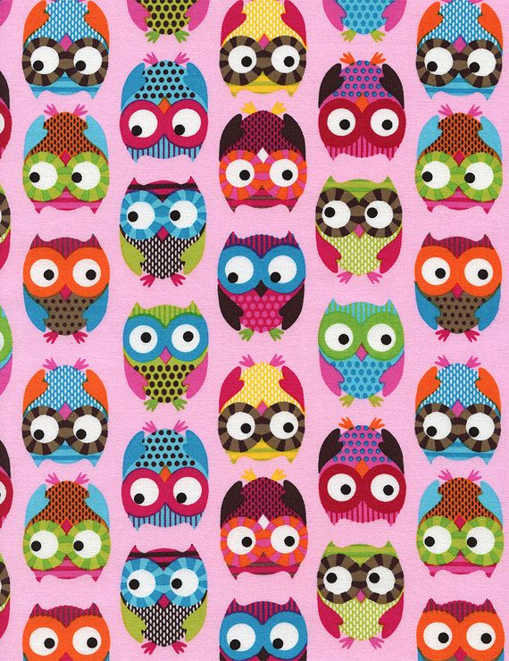 Owls Pink Timeless Treasures Fabrics  Mod Fabric, Designer Fabric by the Yard
