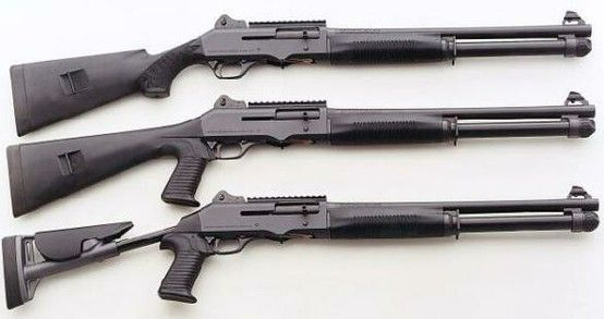 Benelli M4 Tactical Shotgun, the middle model is mine. Pump and semi auto, only Benelli...