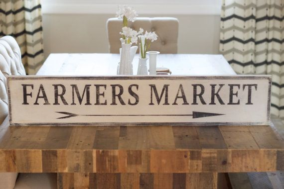 Farmers Market Sign with Border Size: Approximately 36 inches x 7.25 inches The sign is hand painted. Each sign is sanded and distressed so no two