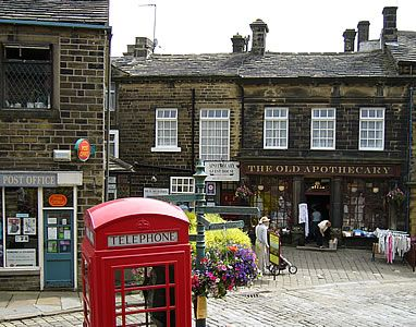 Haworth in West Yorkshire, England - The Old Apothecary store. ~ The Bronte sisters - British novelists, were from the village of Haworth.