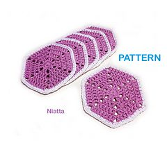 Ηexagon doily coaster pattern.
