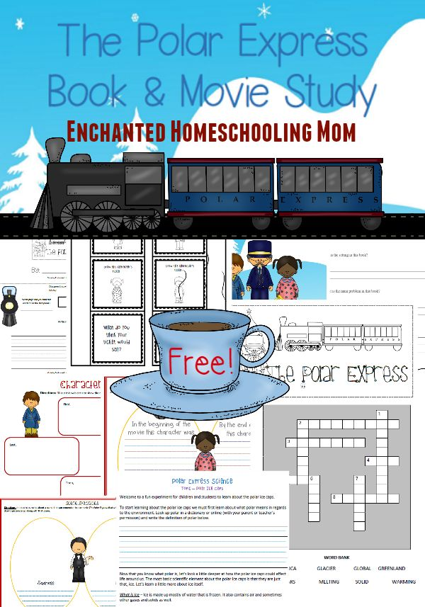 Come have fun in with a FREE printable movie and book study for the Polar Express!