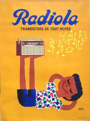 Morvan Radiola Galerie Montmartre: Original Vintage Posters Herve Morvan Radiola 1962 118 x 160 cm