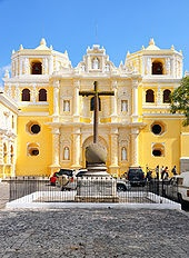 Antigua: In 1773, the Santa Marta earthquakes destroyed much of the town, which led to the third change in location for the city.[5] The Spanish Crown ordered (1776) the removal of the capital to a safer location, the Valley of the Shrine, where Guatemala City, the modern capital of Guatemala, now stands. This new city did not retain its old name and was christened Nueva Guatemala de la Asunción (New Guatemala of the Assumption) and its patron saint is Our Lady of Assumption.
