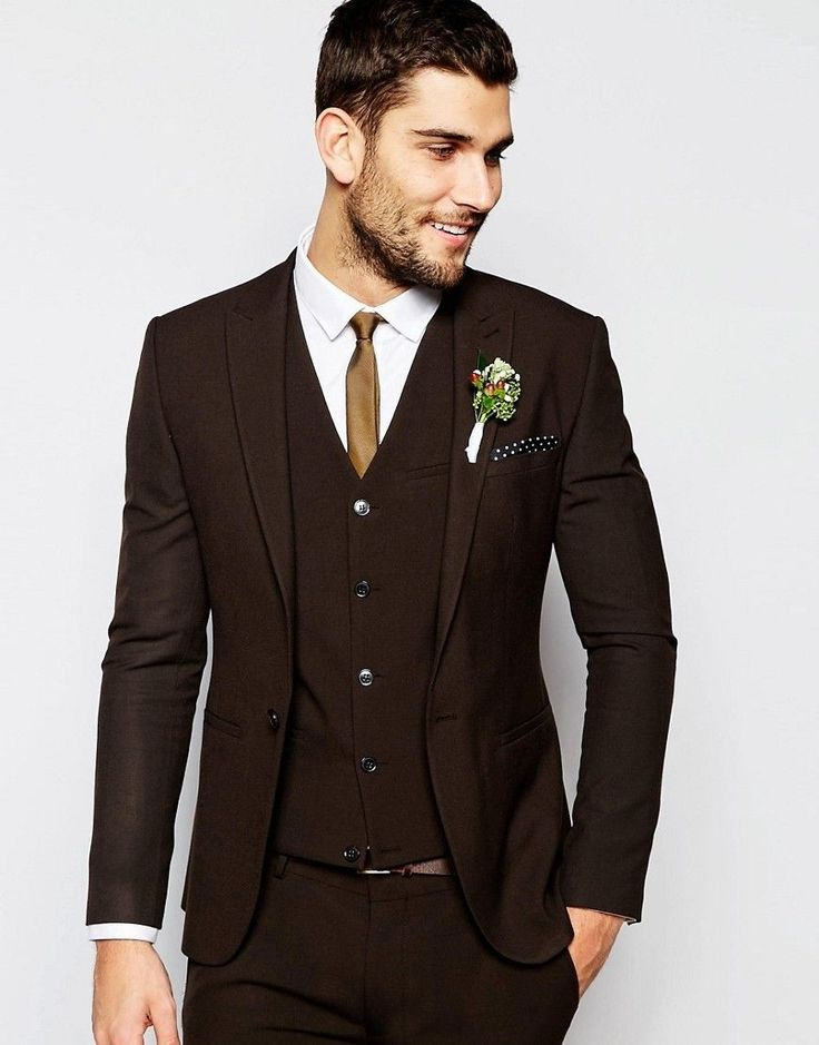 New High Quality Dark Brown Suits Custom Made Wedding Suit for Men Peaked Lapel Groom Blazer Slim Fit Tuxedo 3 Piece Vestidos F
