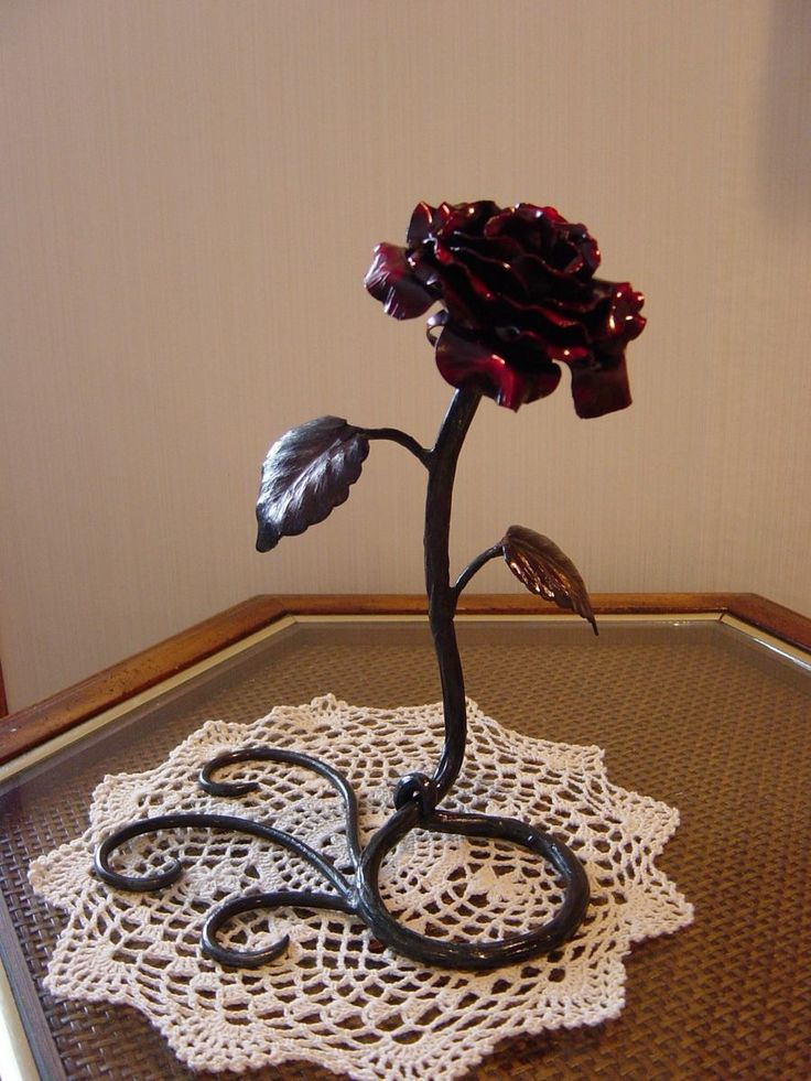 Custom Made Hand Forged Metal Rose Sculpture