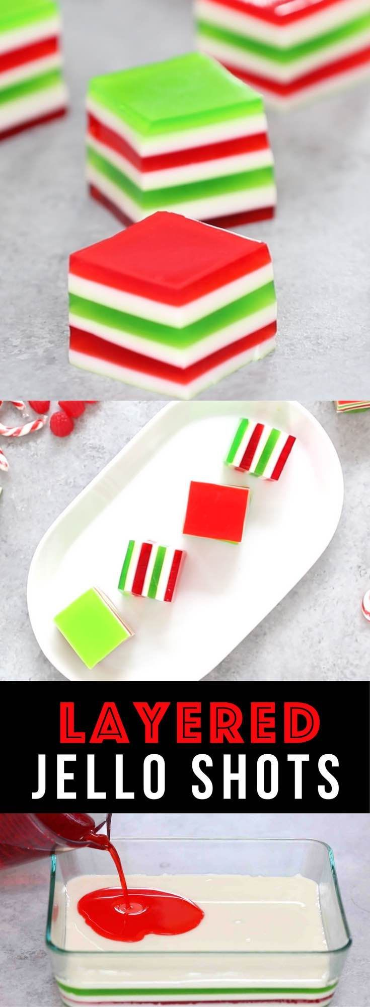 Easy Layered Jello Shots – An easy and beautiful dessert spiked with vodka for a special party! Smooth and creamy Jello shots with bright red, green and white layers. All you need is a few simple ingredients: gelatin, strawberry and lime jello powder, vodka and condensed milk. So Good! Great for holiday and birthday parties. Easy recipe, party desserts. Finger food. No Bake. Vegetarian. Video recipe. | Tipbuzz.com