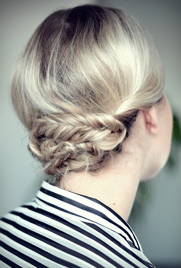bun with a fishtail braid