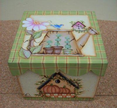 """""""Vero"""" Pintura Decorativa sobre Madera y Porcelana: Caja Country Diseño…"""