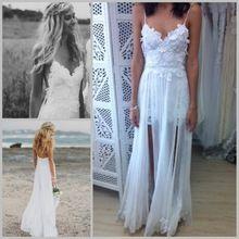 sexy spaghettibandjes kant strand bruiloft jurken jassen 2014 prachtige dromerige sweetheart witte backless chiffon bruid jurk(China (Mainland))