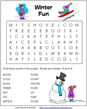 winter word search puzzle for kids holidays super teacher worksheets pinterest. Black Bedroom Furniture Sets. Home Design Ideas