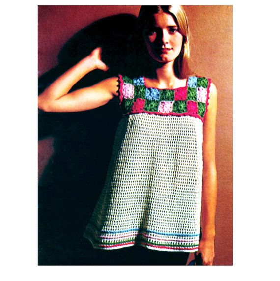 Vintage Crochet Pattern Granny Square Mesh Cover by 2ndlookvintage