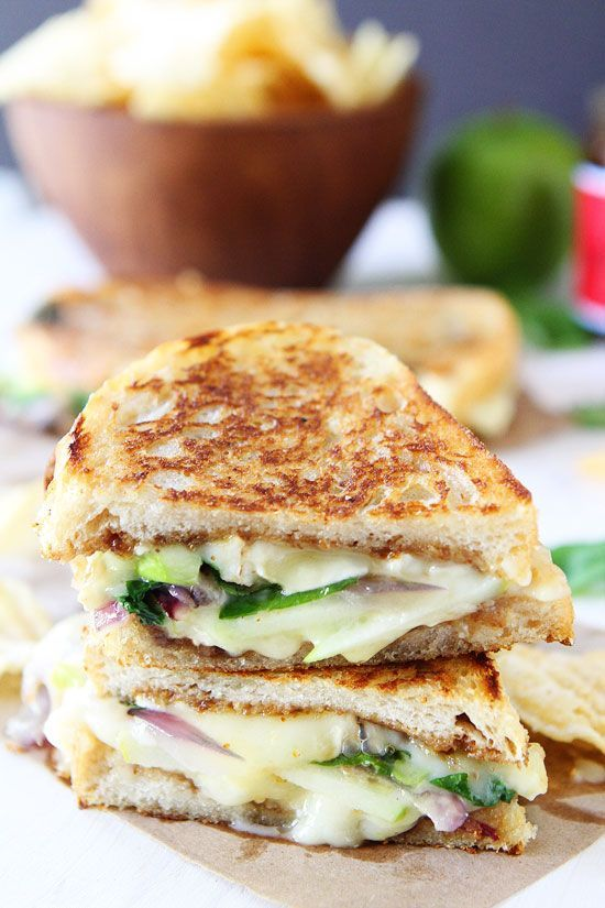 Brie, Fig and Apple Grilled Cheese Recipe on twopeasandtheirpod.com Love this gourmet grilled cheese sandwich! It's easy to make too!