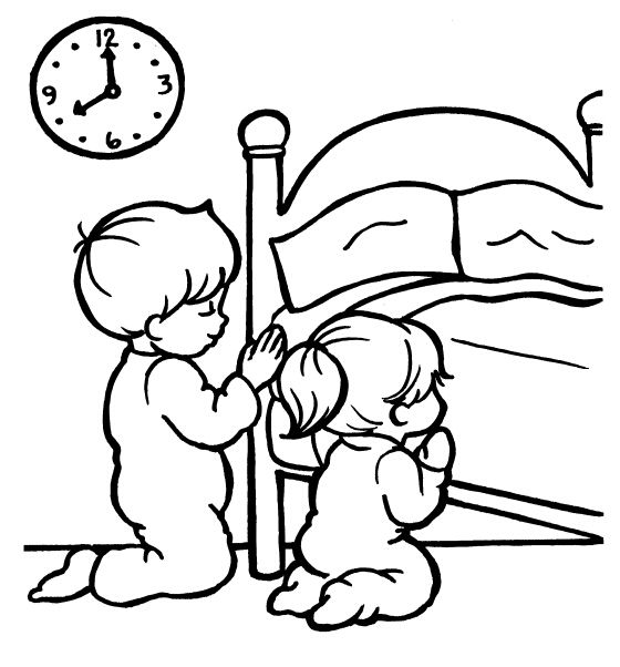 Praying coloring pages preschool top kids corner for Bedtime coloring pages