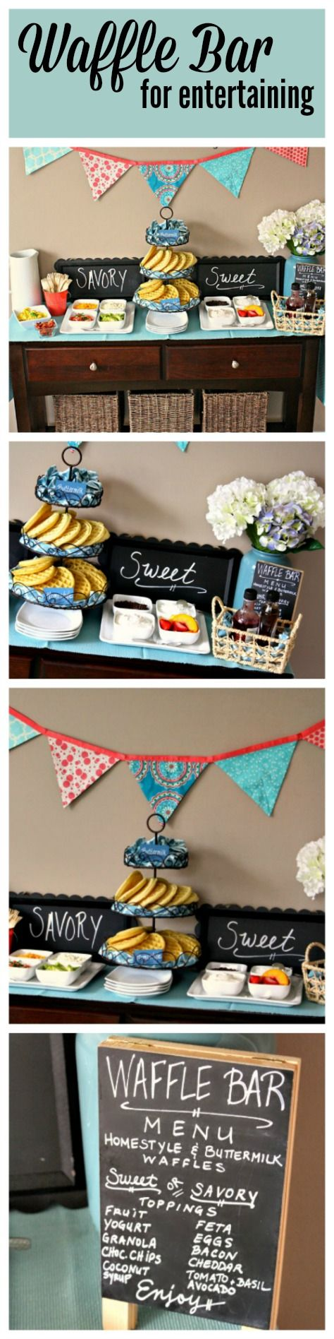 Easy Waffle Bar Setup - with fresh colors for spring! #EggoWaffleBar #ad #CollectiveBias @Walmart