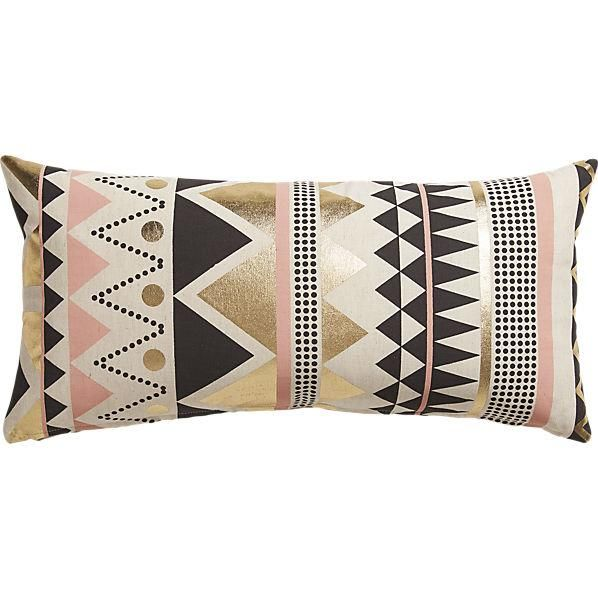 Pillows - Pale pink and sleek gold foil take the edge off black geometric angles and mod dots on a natural field.