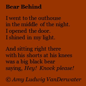 The Poem Farm: Bear Behind - Silly Poems!  From The Poem Farm, Amy Ludwig VanDerwater's blog full of hundreds of poems, poem mini lessons, and poetry ideas for home and classroom - www.poemfarm.amylv.com: Poem Farm, Silly Poems, Www Poemfarm Amylv Com, Camp Ideas, Poem Mini, Poetry Ideas