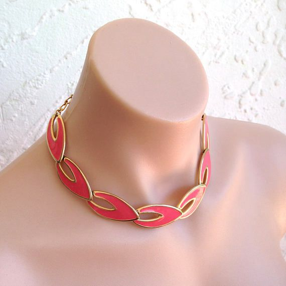 Pink Gold 90s Choker Necklace Jewelry Pendant Charm Necklace