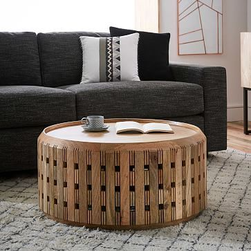 Pierced Wood Drum Coffee Table  Would be fun for a coffee table or a side table (but not both)