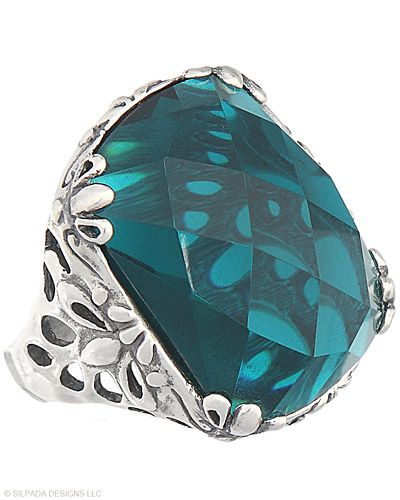 $89.The breathtaking deep aqua stone and intricate setting cause a sensation each time this Ring is worn. Glass, Sterling Silver. Stunning!! www.mysilpada.com/sabina.d'agliano