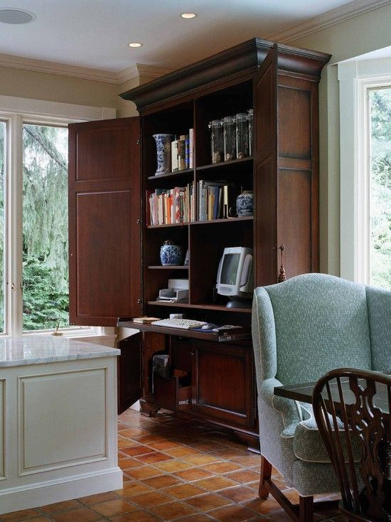 furniture amazing traditional home office with brown wooden classic computer cabinet also green elegant armchair