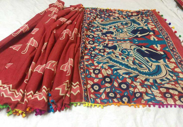Indigo Print Sarees on Mulmul Cotton with Kalamkari Pallu. Saree beauty is enhanced with Lace and latkan at the border. running Blouse.