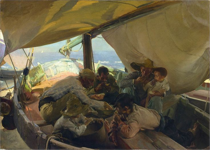 Joaquín Sorolla - Lunch on the boat