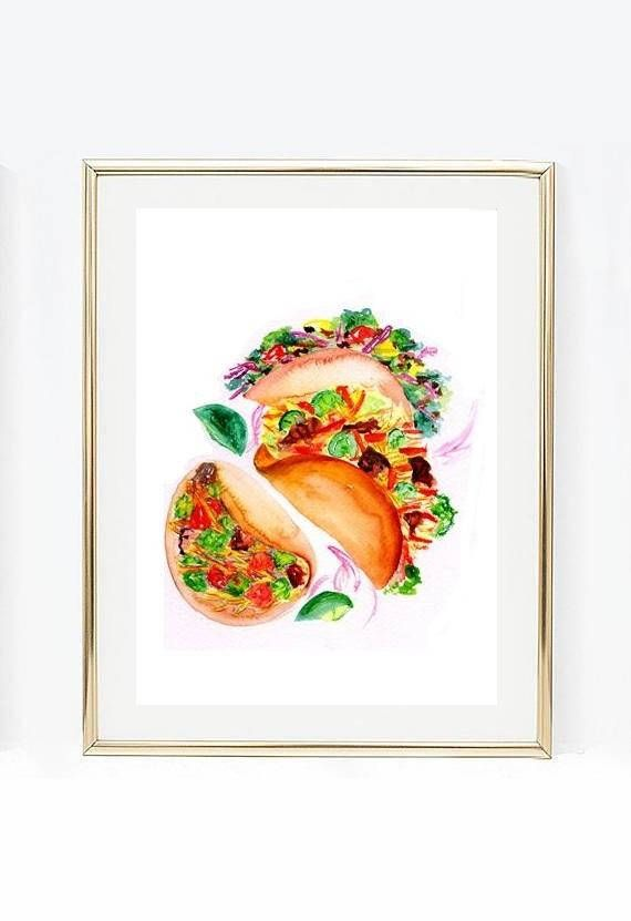Tacos watercolor painting mexican food wall art print kitchen