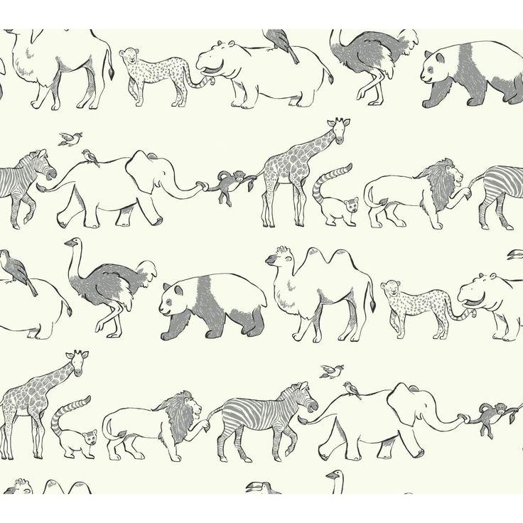 "Waverly Kids Congo Line 27' x 27"" Wildlife Wallpaper"