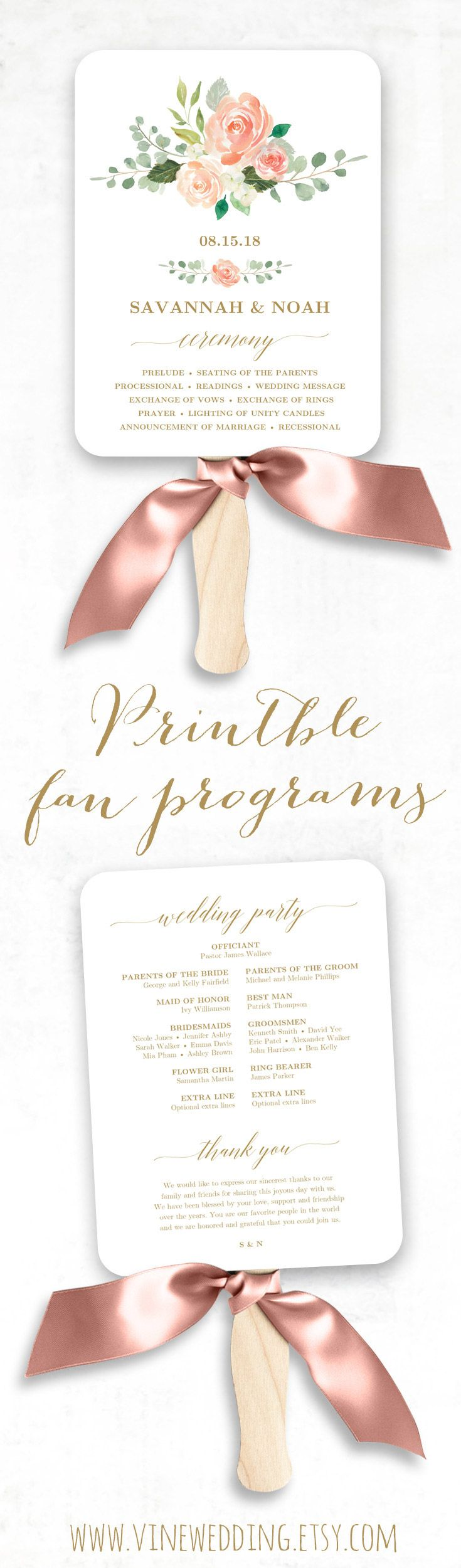 Peach Blush Wedding Fan Program. Printable Wedding Fan Program. #wedding #program #peach #blush #gold #diy #vinewedding