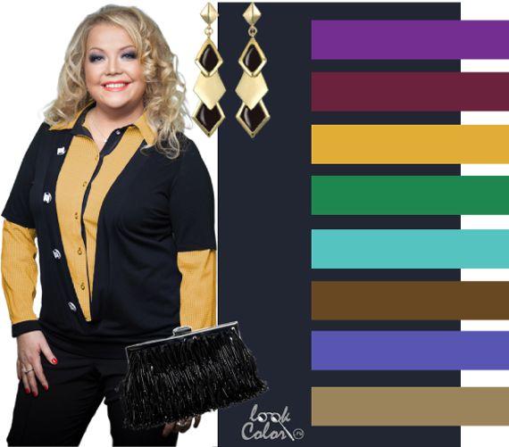 Черно синий цвет для полных сочетание  Альтернатива черному: глубокий черно синий цвет. Этот цвет уже отличается от ахроматического: он более свежий, насыщенный, пикантный. Подойдет как для офиса, так и для банкета. Сочетайте его со светлыми сочными цветами. Такими как пурпур, бордо, золотой, зеленый, спокойный лазурный, коричневый, сиреневый, средне бежевый.