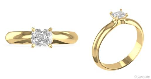 Ring Anaela von Yorxs in 18K Gelbgold mit einem 0,75 Karat schweren, weißen Diamanten im Kissenschliff.  #Yorxs #Diamant #Ring