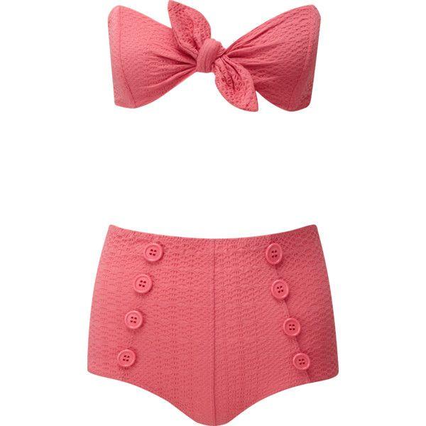 POPPY PINK SEERSUCKER HIGH-WAIST BUTTON BIKINI ($390) ❤ liked on Polyvore featuring swimwear, bikinis, high-waisted bikinis, bandeau bikini tops, pink bikini, seersucker bikini and bikini two piece