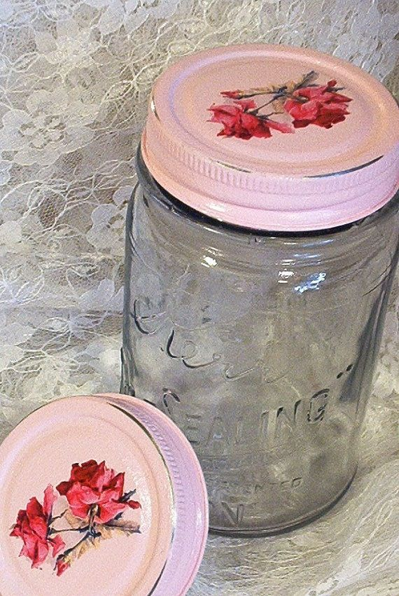 Shabby Chic Roses Mason Jar.  Paint your own mason jar lids.   This would be great for gifts!!  tcm.  Craft time girls!!!
