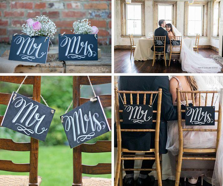 Dekoracje krzeseł Państwa Młodych inspirowane czarną tablicą kredową