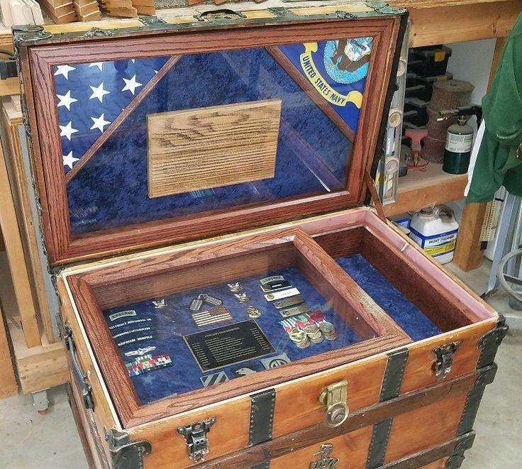 Antique Trunk 835 Navy Retirement Gift Shadow Box Idea