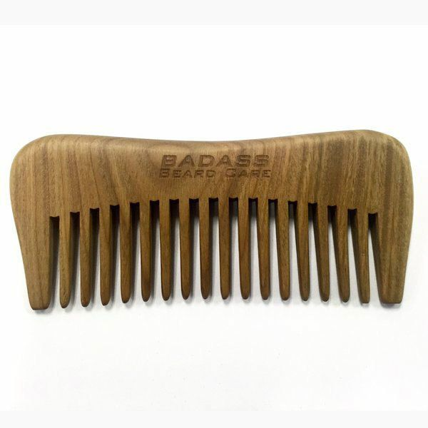 Badass Beard Care - Hand Carved Sandalwood Beard Comb, $17.99 (https://badassbeardcare.com/wood-beard-comb-sandalwood/)