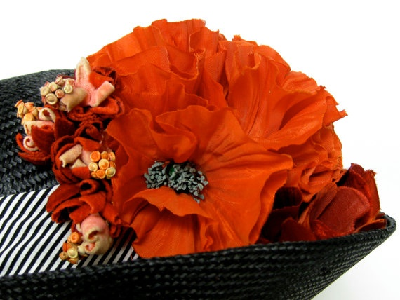 Bicorn Bumper Hat with Poppies by orsinimedici1951 on Etsy, $178.00: Design Creations Etsy, Poppies, Bicorn Bumper, Bumper Hats