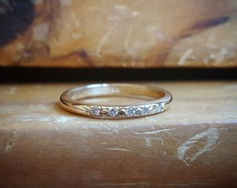 14K Gold Pave Diamond Band Womens Wedding Band Diamond Wedding