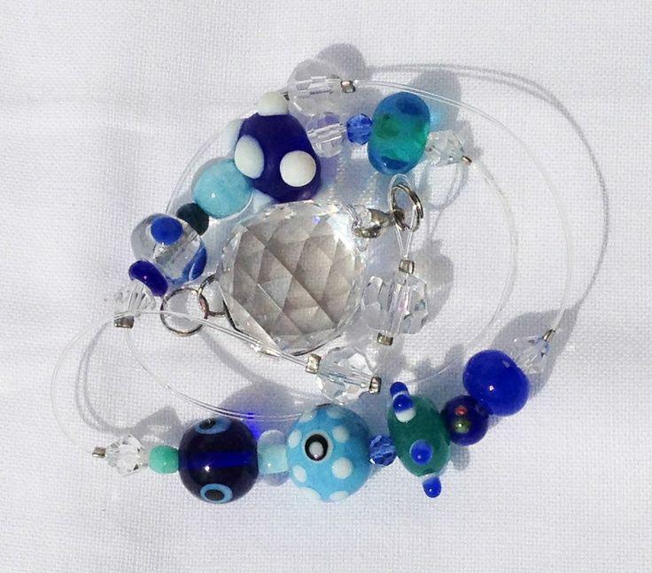 青いとんぼ玉のサンキャッチャー  suncatcher crystal glass blue handmade craft 蜻蛉玉 rainbow