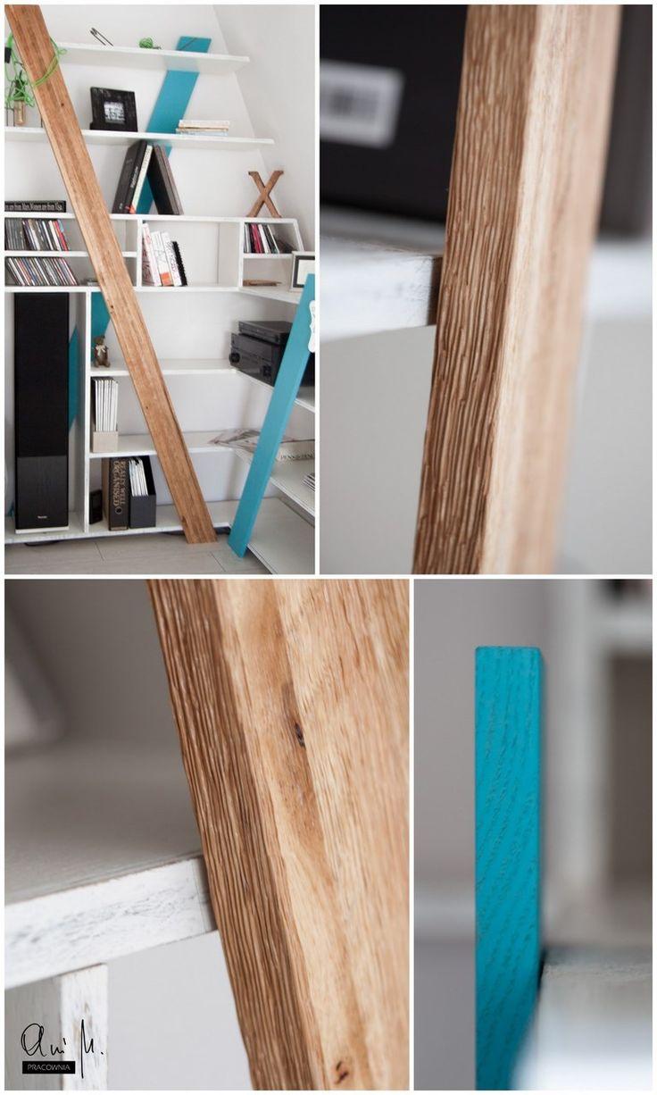 Narożny regał na książki w stylu skandynawskim./ Scandinavian corner bookshelf.