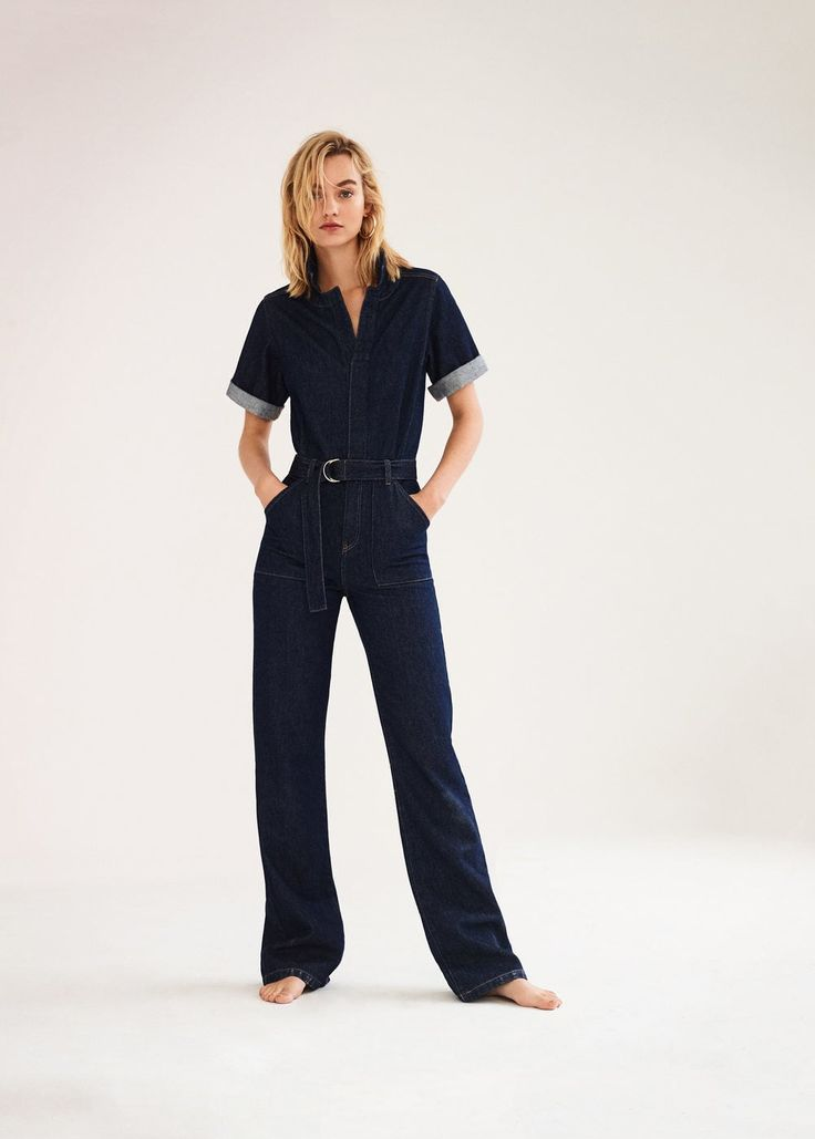 Belt denim jumpsuit | MANGO