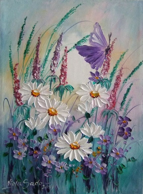 White Daisies Purple Butterfly Meadow Original Oil by ArtistsUnion