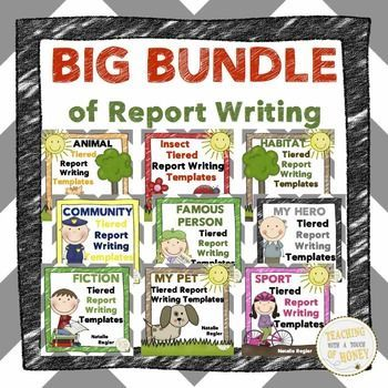 "SAVE $10.00!!!! A HUGE bundle of report writing templates to support diverse learning needs of students in different subject areas!  The ""Big Bundle of Report Writing Templates"" package contains materials to support your students as they work through the report writing process."