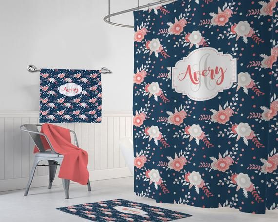 Floral Monogram Shower Curtain Navy Pink Coral Flower Bathroom Decor Personalized Girl Shared Sister Bathroom Towel Mat Set Pink Shower Curtains